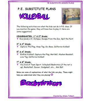 PE Substitute Lesson Plans