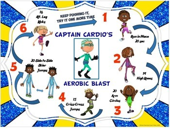 """PE Super Friends Fitness Blasts- 27 """"Action Packed"""" Mini Workouts"""