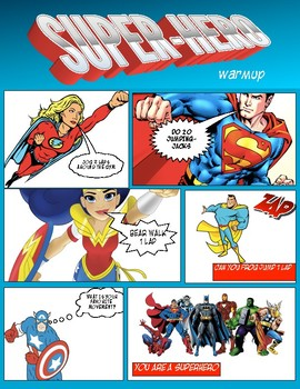 PE: Superhero Poster Warm Up