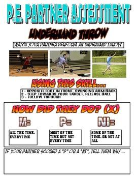 PE: Underhand Throw Assessment Sheet