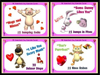 PE Valentine Exercise Cards and 4 Valentine's Day Activities