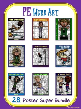 PE Word Art- 28 Poster Super Bundle