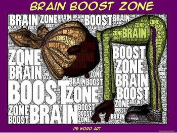 "PE Word Art Poster: ""Brain Boost Zone"""