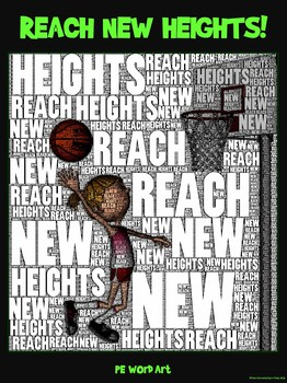 "PE Word Art Poster: ""Reach New Heights"""