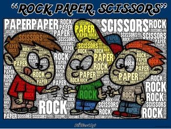 """PE Word Art Poster: """"Rock, Paper, Scissors!"""""""