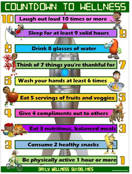 "PE and Health Poster: Countdown to Wellness- Daily ""Action"" Guidelines"