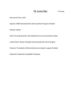 PE lesson plan