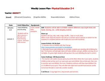 PE lesson plans Jan-Feb
