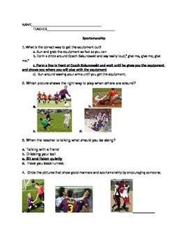 P.E. test for K-2nd (Sportsmanship)