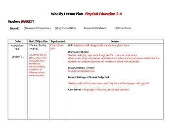 PE weekly lesson plans Nov-Dec