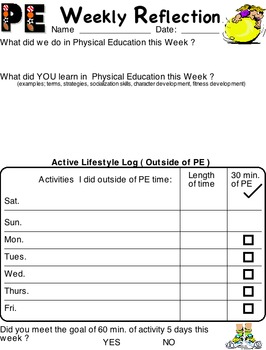 Physical Education - PE weekly reflection