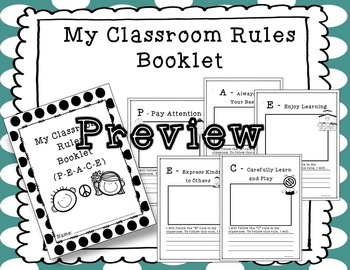 Classroom Management - PEACE Rules Posters, Booklet, Lesson
