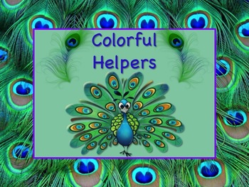PEACOCK Job Chart Cards/Signs - Great for Classroom Management! COLORFUL!
