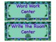 PEACOCK Themed Station/Center Signs - Great Classroom Management!  ADORABLE!