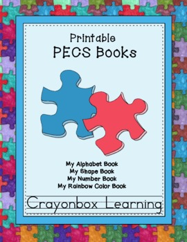 PECS - Printable Books (4) Colors, Shapes, Numbers, Alphabet ...