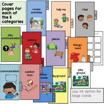 PECS Recess Portable Communication Cards. Autism and Speech Support.