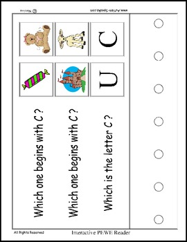 PECS Style Interactive PEWE Reader for the Letter C -  Reading support