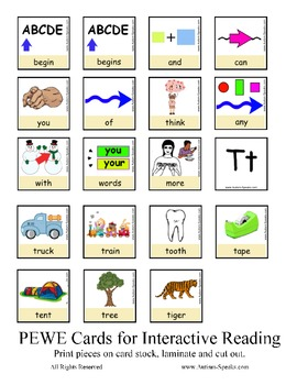 PECS Style Interactive PEWE Reader for the Letter T -  Reading support