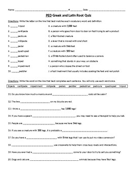 PED Greek and Latin Root Vocabulary Quiz