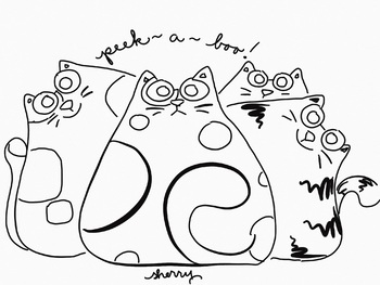 PEEEK A BOO! Cats Coloring Page & Clip Art