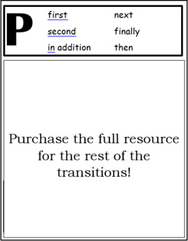 PEEL Transitions Interactive Notebook Chart