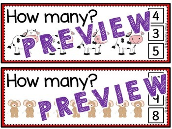 PRE K+KINDERGARTEN COUNTING ACTIVITIES: ANIMALS COUNTING CLIP CARDS:NUMBERS 1-10