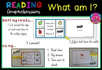 Reading cards - PEG IT! What am I?