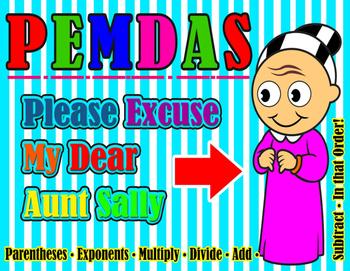 PEMDAS - Please Excuse My Dear Aunt Sally - POSTER