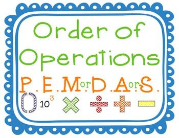 P.E.M.D.A.S. Anchor Chart