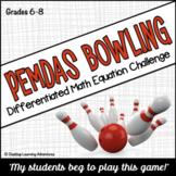 PEMDAS (Order of Operations) Bowling Computation Game