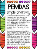 PEMDAS Cards & Simple Craftivity Freebie