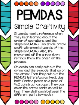PEMDAS Cards & Simple Craftivity Freebie