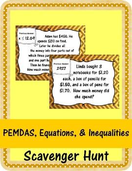 PEMDAS, Equations, and Inequalities Scavenger Hunt