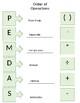 PEMDAS Graphic Organizer worksheet