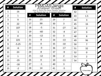 Order of Operations Game PEMDAS Jenga