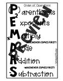 PEMDAS Order of Operations Anchor chart