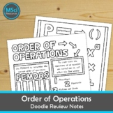 PEMDAS Order of Operations Doodle Sheet Coloring Math Note