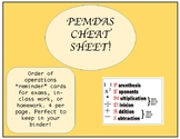 PEMDAS/Order of Operations Guided Notes Cards