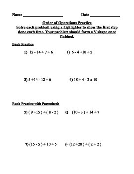 PEMDAS ( Order of Operations) Practice Worksheet