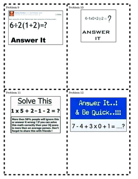 PEMDAS, Order of Operations & Social Media: Stoopid Review & TASK CARDS!