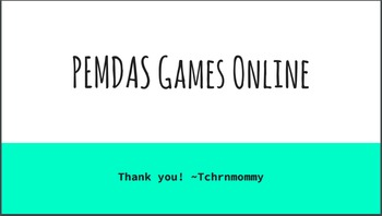 PEMDAS (Order of Operations) online games with accountability piece