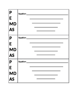 PEMDAS Order of operations equation scaffold worksheet