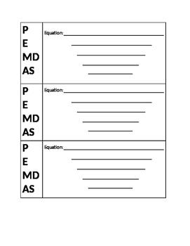 PEMDAS Order of operations equation scaffold worksheet