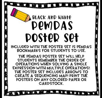 PEMDAS Poster & Bookmark Set