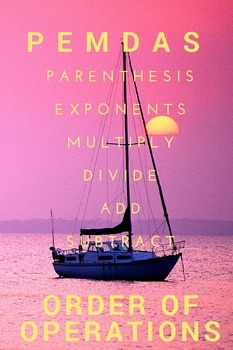 PEMDAS Poster Order of Operations Pink Sunset Theme