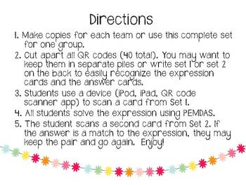 PEMDAS QR Code Memory Game (order of operations)