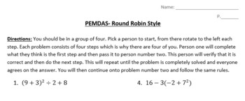PEMDAS- Round Robin Group Activity
