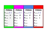 PEMDAS bookmark - simple