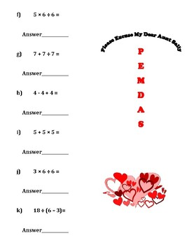 Order of Operations for Valentine's Day