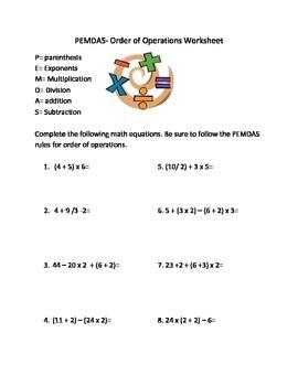 PEMDAS practice worksheet